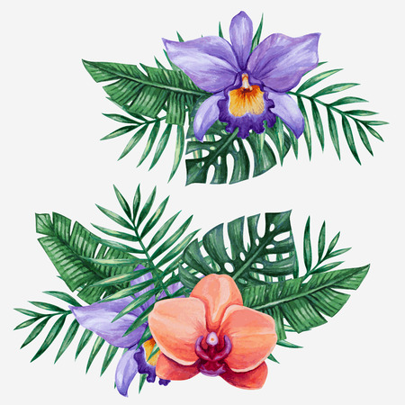 Watercolor tropical flowers and palm tree leaves. Vector illustration.