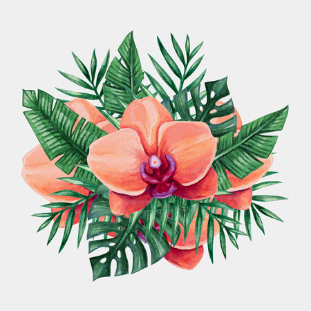 fuschia: Watercolor tropical flowers and palm tree leaves. Vector illustration.