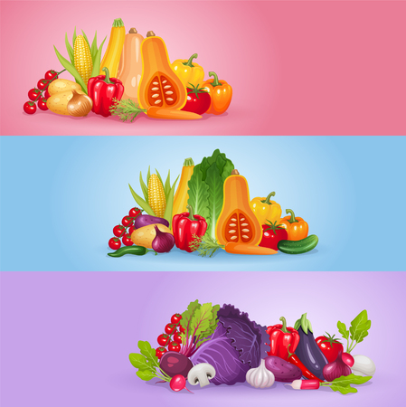 organic background: Vegetables banner design. Healthy and organic vector illustration background.