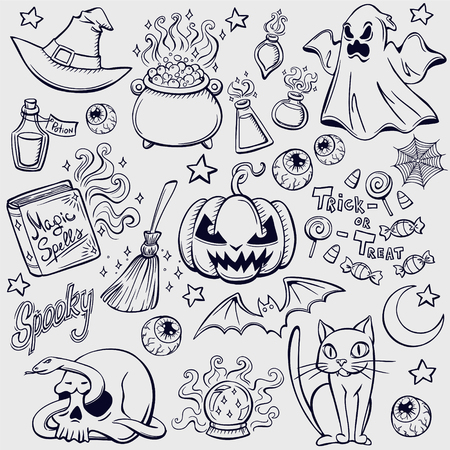 magic eye: Halloween characters and attributes doodle set. Vector illustration.