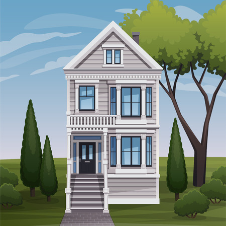 old and new: Cozy family house facade view. Vector illustration.