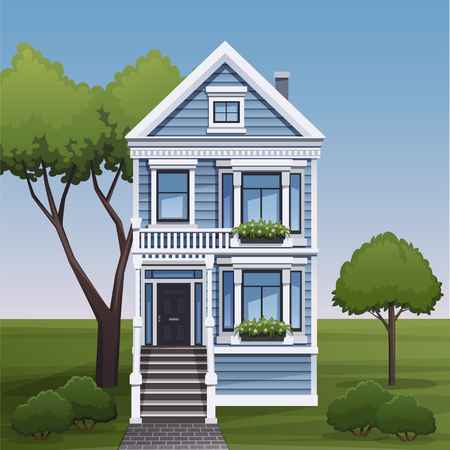 facade: Cozy family house facade view. Vector illustration.