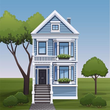 Fachada: Familia acogedora vista fachada de la casa. Ilustración del vector.