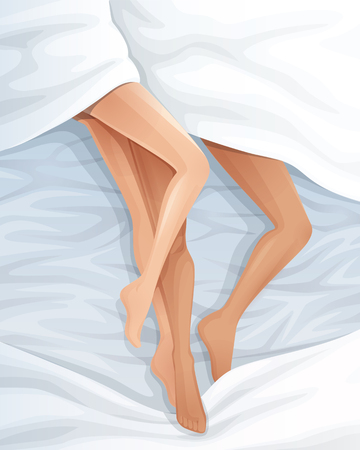 happy couple in bed: Romantic couple in bed. Vector illustration. Illustration
