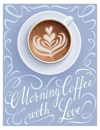 Cartel de la taza de café con cita de letras. Ilustración de vector de tarjeta de felicitación de taza de Cappuccino.