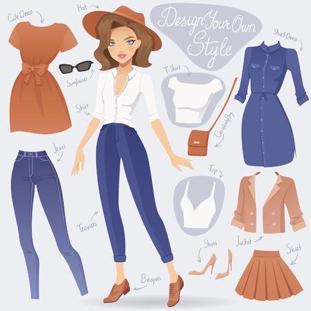 Cartoon dress up fashion girl character. Vector female illustration.