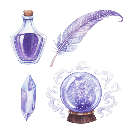 Halloween hand-drawn illustration. Magic elements set. Stock Photo