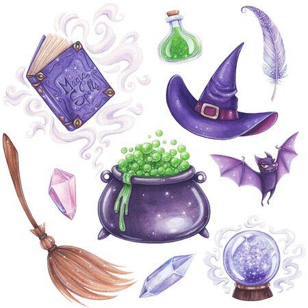 Halloween handgetekende illustratie. Heks magische attributen ingesteld. Stockfoto