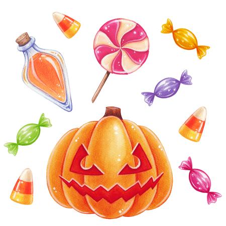 elixir: Halloween hand-drawn illustration. Halloween sweets and pumpkin.