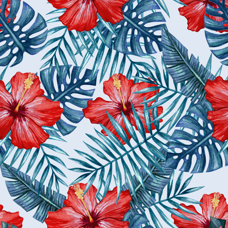 Watercolor hibiscus flower and palm leaves seamless pattern.