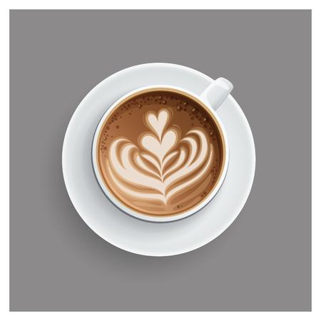 Cappuccino-kop met hartenontwerp op bovenkant. Koffiekopje, vectorillustratie.