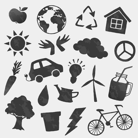 Vector omgeving iconen pictogrammen instellen. Bio, veganistisch, ecologie
