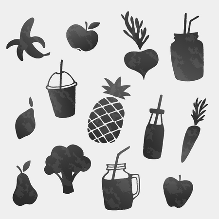 Vector healthy food icons shapes set. Fruits, vegetables and smoothies Ilustracja