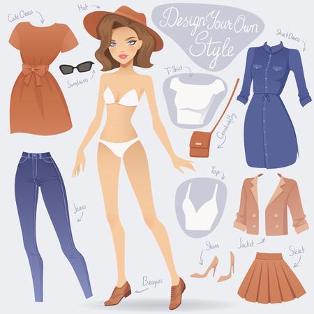Cartoon aankleden modemeisje karakter. Vector vrouwelijke illustratie.