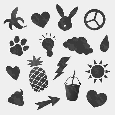 Vector koele pictogrammen vormen ingesteld Stock Illustratie