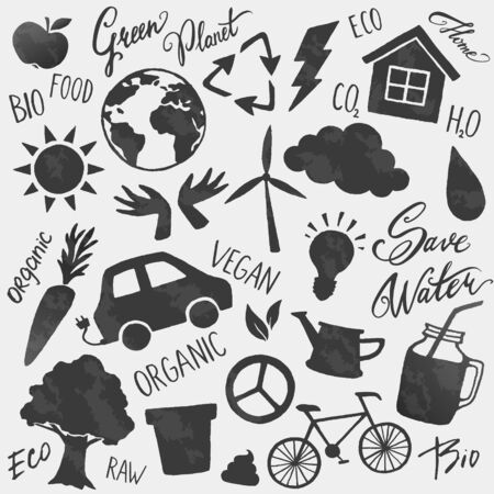 Vector environment icons shapes and lettering set. Bio, vegan, ecology