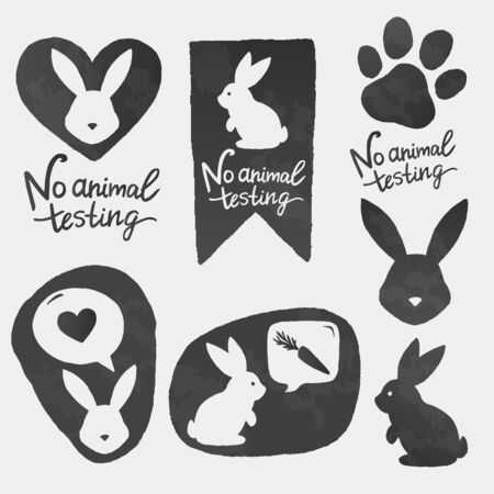 Against animal testing stickers. Cruelty free vector labels. Animal rights design. No animal testing bunny in heart shape. Ilustracja