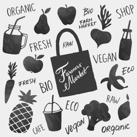Vector healthy food icons shapes and lettering set. Fruits, vegetables and smoothies