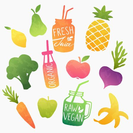 Raw fruits and vegetable smoothies and fresh juices. Healthy vegan food design set. Colorful vector shapes. Ilustracja