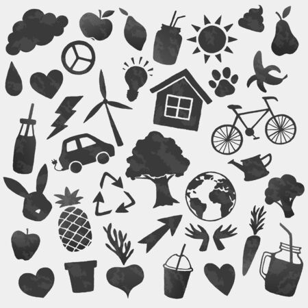 Vector environment icons shapes. Bio, recycle, vegan, ecology lifestyle black stickers. Ilustracja