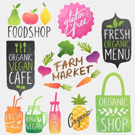 Healthy food vector stickers. Cafe, farmers market, organic grocery shop logotypes.