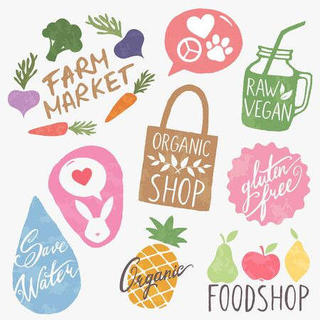 Set of eco friendly lifestyle stickers. Vegan, environment and healthy food logotypes set. Vettoriali