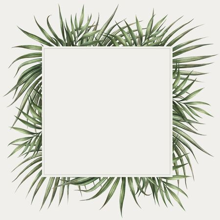 Palm leaves border design. Tropical watercolor background.