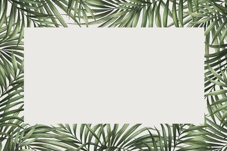 Palm leaves border design. Tropical watercolor background. Palm tree leaves greeting card or wedding invitation. Tropical frame decoration. Zdjęcie Seryjne