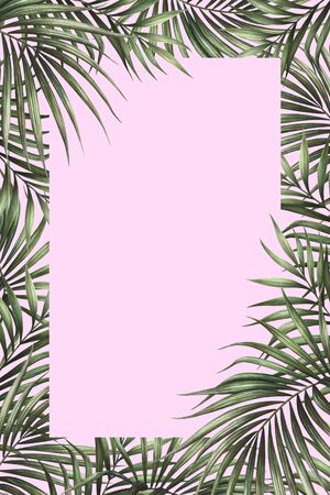 Palm leaves border design with pink background. Tropical watercolor background. Palm tree leaves greeting card or wedding invitation. Tropical frame decoration.