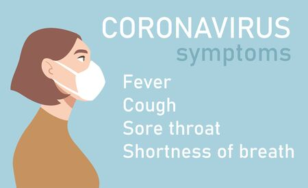 Woman in white medical face mask. Coronavirus in World. Concept of coronavirus quarantine. Symptoms of COVID-19 2019-nCoV Vettoriali