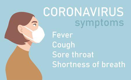Woman in white medical face mask. Coronavirus in World. Concept of coronavirus quarantine. Symptoms of COVID-19 2019-nCoV Ilustracja