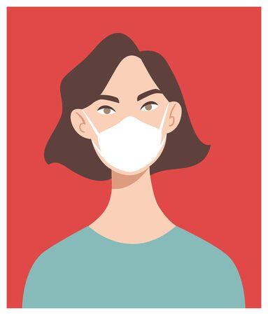 Woman in white medical face mask. Coronavirus in World. Concept of coronavirus quarantine. COVID-19 2019-nCoV