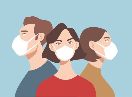 Doctors in white medical face mask. People in respiratory. Concept of coronavirus quarantine. COVID-19 Ilustracja