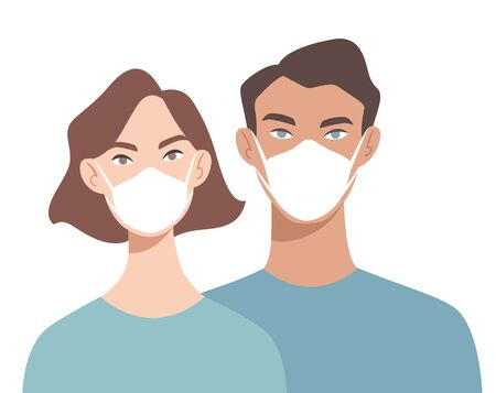Doctors in white medical face mask. People in respiratory. Concept of coronavirus quarantine. COVID-19 Vettoriali