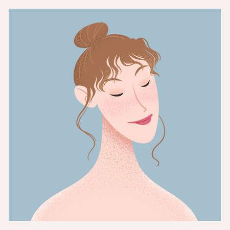 Beauty female portrait. Elegant woman avatar. Self love, skin care vector illustration Ilustracja
