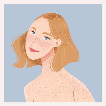 Beauty female portrait. Elegant woman avatar. Girl with freckles. Vector illustration Ilustracja