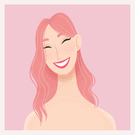 Beauty female portrait. Smiling young Asian woman avatar. Girl with pink hair. Vector illustration