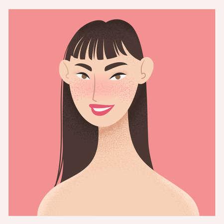 Beauty female portrait. Elegant Asian woman avatar. Vector illustration Ilustracja
