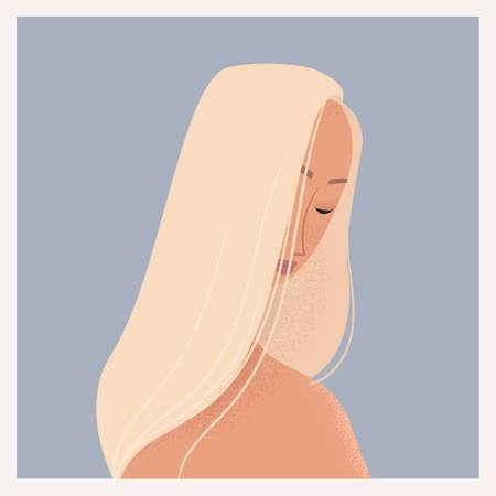 Beauty female portrait. Elegant woman avatar. Vector illustration