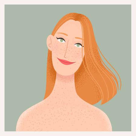 Beauty female portrait. Elegant woman with red hair avatar. Vector illustration