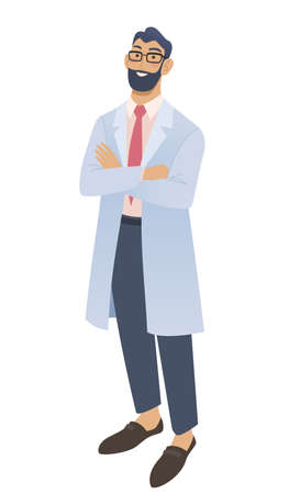 Smiling male doctor standing with crossed hands. Isolated on white vector illustration.