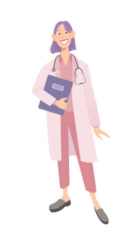 Smiling female physician holding documents. Doctor in a white coat wearing a stethoscope. Isolated on white vector illustration.