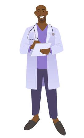 Friendly male doctor writes a prescription. Smiling medic man wearing a stethoscope. Isolated on white vector illustration. Vektorgrafik