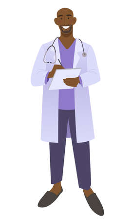 Friendly male doctor writes a prescription.  Smiling medic man wearing a stethoscope. Isolated on white vector illustration.
