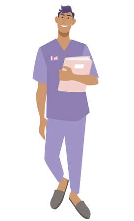 Smiling young male nurse in medical uniform holding documents. A therapist with diagnostic results. Isolated on white vector illustration. Ilustracja