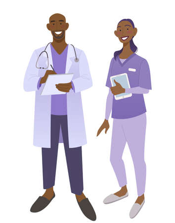 Friendly African American doctors in medical uniform. Smiling man and woman physicians.  Friendly therapist and nurse. Isolated on white vector illustration. Ilustracja