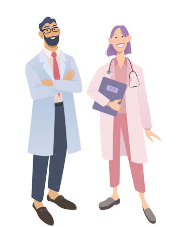 Friendly doctors in medical uniform. Smiling man and woman physicians.  Friendly therapist and nurse. Isolated on white vector illustration. Ilustracja
