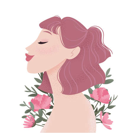 Beauty female portrait decorated with pink peonies flowers. Young woman avatar. Girl with pink hair. Vector illustration