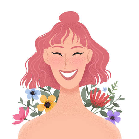 Beauty female portrait decorated with colorful flowers. Smiling young woman avatar. Girl with pink hair. Vector illustration