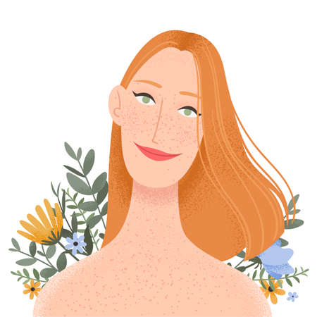Beauty female portrait decorated with flowers. Elegant woman avatar with floral background. Vector illustration
